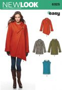 6325 New Look Pattern: Misses' Easy Coat with Length and Front Variations, and Waistcoat